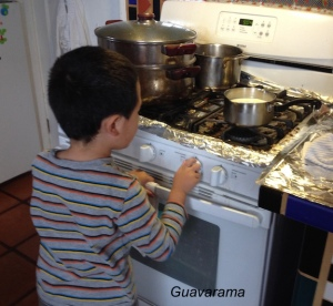 Turning on the stove